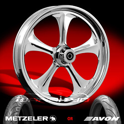 Adrenaline Chrome 21 Front Wheel Tire Package Kit 08-13 Harley Touring Bagger