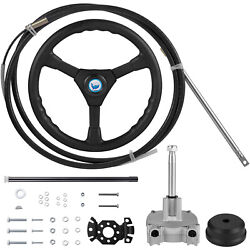 Vevor Boat Rotary Steering System Outboard Kit 13 Feet Marine With 13and039and039 Wheel