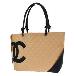 Authentic Cc Cambon Matelasse Tote Hand Bag Leather Beige Italy 669bs297
