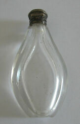 Antique French Crystal Cut Glass Small Perfume Bottle With Silver Closer