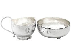 Sterling Silver Cream Jug And Sugar Bowl Arts And Crafts Style Antique George V