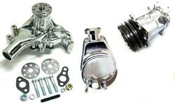 Small Block Chevy Chrome Power Steering Long Water Pump Compressor