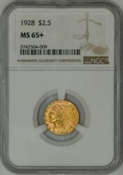 1928 2 1/2 Gold Indian 2.5 Ms65+ Ngc 934705-14