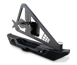 For Jk Rockbrawler Ii Rear Bumper With Integrated Single-action Tire Carrier Bla