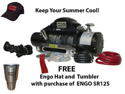 For Electric Winch 12,000 Lb 5443kg 12 Volt W/synthetic Rope Black Satin Finis