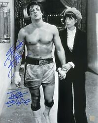 Sylvester Stallone And Talia Shire Autographed Rocky Bandw 16x20 Photo Asi Proof
