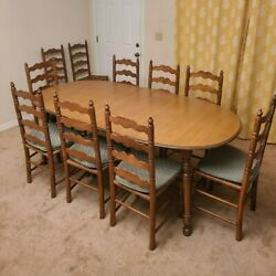 Antique Tell City Complete Dining Set, 10 Chairs With The Original Table