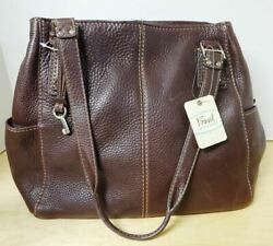 Large FOSSIL Brown Leather Tote Handbag Purse Shoulder Bag NEW With $158 Tag $129.50