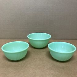 Lot 3x Vintage Fire King Jadeite Glass Oven Ware Green Swirl 6 And 7 Bowl 1940