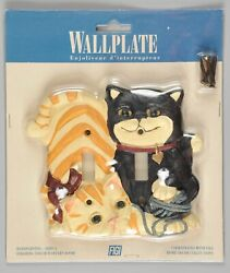 Vintage Figi Cats 3d Wallplate Double Light Switch Cover 1997 New In Package