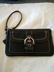 Coach Black Silver Tone Buckle Wristlet Wallet $15.50