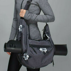 Lululemon Resolution Hobo Duffel Bag Black Gray Floral Yoga Exercise $90.00