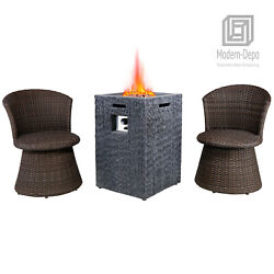 19 Outdoor Vertical Texture Surface Patio Propane Firepit Table Set W/ 2 Chairs