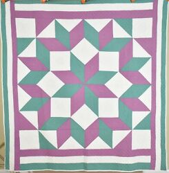 Vintage 30's Broken Star Antique Quilt Great Colors And Nice Hand Quilting