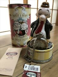 Fossil Popeye And Wimpy Pocket Watch And Figurine 1997 Limited Edition