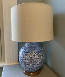 New Porcelain Blue And White Floral Asian Ginger Jar Table Lamp 23andrdquo