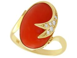 Vintage 5.42ct Coral And 0.18ct Diamond 14k Yellow Gold Dress Ring