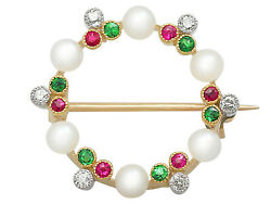 Diamond Pearl Peridot And Ruby 9carat Yellow Gold Brooch - Antique