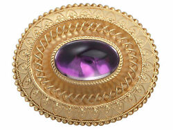 Paste Cabochon Foil And 15 Ct Yellow Gold Brooch - Antique Victorian