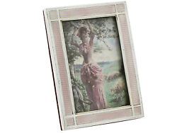 Antique Edwardian Sterling Silver And Enamel Photo Frame