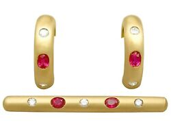 1.05ct Ruby 0.44ct Diamond 18carat Yellow Gold Earring And Brooch Set - Vintage