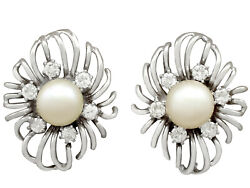 Cultured Pearl And 0.84ct Diamond 18carat White Gold Stud Earrings - Vintage