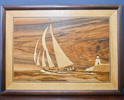 Hudson River Inlay -large Wood Marquetry By Nelson / Sail Boat, Lighthouse Art
