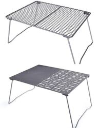 Titanium Charcoal Bbq Grill Net With Folding Legs For Camping Beach Picnic