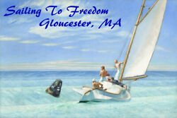Sailing To Freedom Gloucester Massachusetts Sail Vintage Poster Repro Free S/h