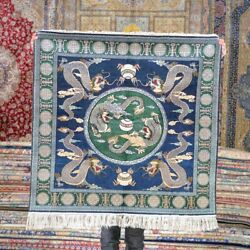 Yilong 3and039x3and039 Square Blue Dragon Silk Tapestry Carpet Hand Knotted Area Rug 527h