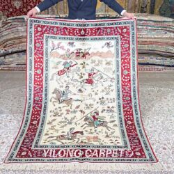 Yilong 4and039x6and039 Hand Knotted Hunting Scene Silk Rugs Tapestry Handmade Carpet 539a
