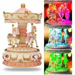 Love For You Unicorn Carousel Horse Music Box Birthday Toy For Kids Pink-3