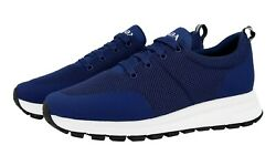 Auth Luxury Prada Trainers Shoes 4e3499 Blue New 65 405 41