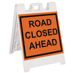 Grainger Approved 136-wlgq2409-obeg Barricade Signroad Closed Ahead45 In H