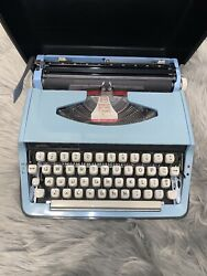 Sears Manual Portable Typewriter Model Number 268. 52590 Baby Blue Colored