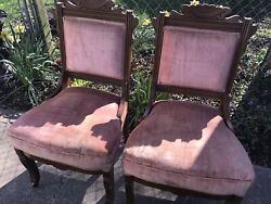 Pair Antique Rose Fabric Front Casters Parlor Chairs Eastlake Style