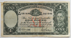 Nd Common Wealth Of Australia One Pound Legal Tender Note Currency