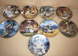 1991-2 Edwin M. Knowles 9 Nursery Rhyme Collector Plates Coa Boxes