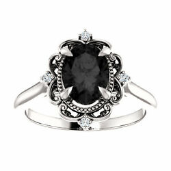Victorian Oval Black Diamond Engagement Ring 14k White Gold Victorian Ring