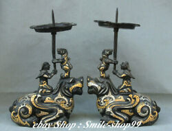 14and039and039old Bronze Silver Gold Pixiu Candle Holder Candlestick Oil Lamp Statue Pair
