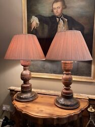 Large Pair Of Antique Vintage Painted Indian Hardwood Table Lamps