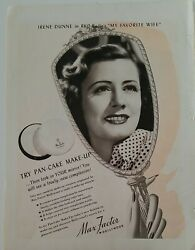 1940 Max Factor Pancake Makeup Hollywood Irene Dunne My Favorite Wife Vintage Ad