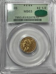 1926 Indian Head Quarter Eagle Gold 2.50 Ms63 Pcgs Ogh Cac Spectacular A+++