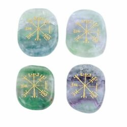 Natural Colorful Fluorite Palm Stone Set Engraved Ancient Norse Compass Symbols