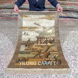 Yilong 2and039x3and039 500lines Handwoven Silk Area Rug Lake View Tapestry Carpet 552h