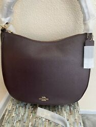 Coach Sutton Hobo In Polished pebble leather Gold Oxblood 35593 $235.00