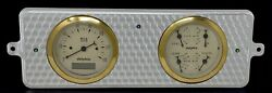 1939 Chevy Car 2 Gauge Dash Panel Engine Turned Insert Programmable Gold