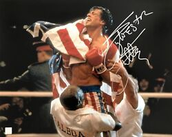 Sylvester Stallone Rocky Balboa Autographed 16x20 Photo American Flag Asi Proof