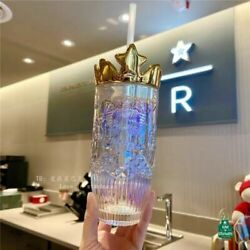 2021 Hot Starbucks Valentine's Day Colorful Glass Straw Cup With Gold Crown Lid
