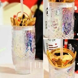 2021 Starbucks Colorful Glass Straw Cup With Gold Crown Lid Valentine's Day Gift